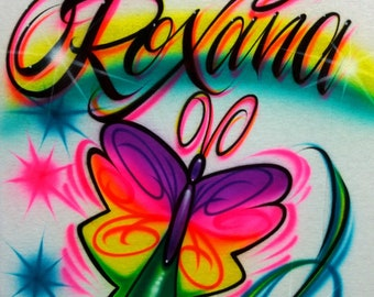 Airbrush T Shirt Butterfly And Name