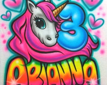 Airbrush T Shirt With Unicorn Birthday Kids