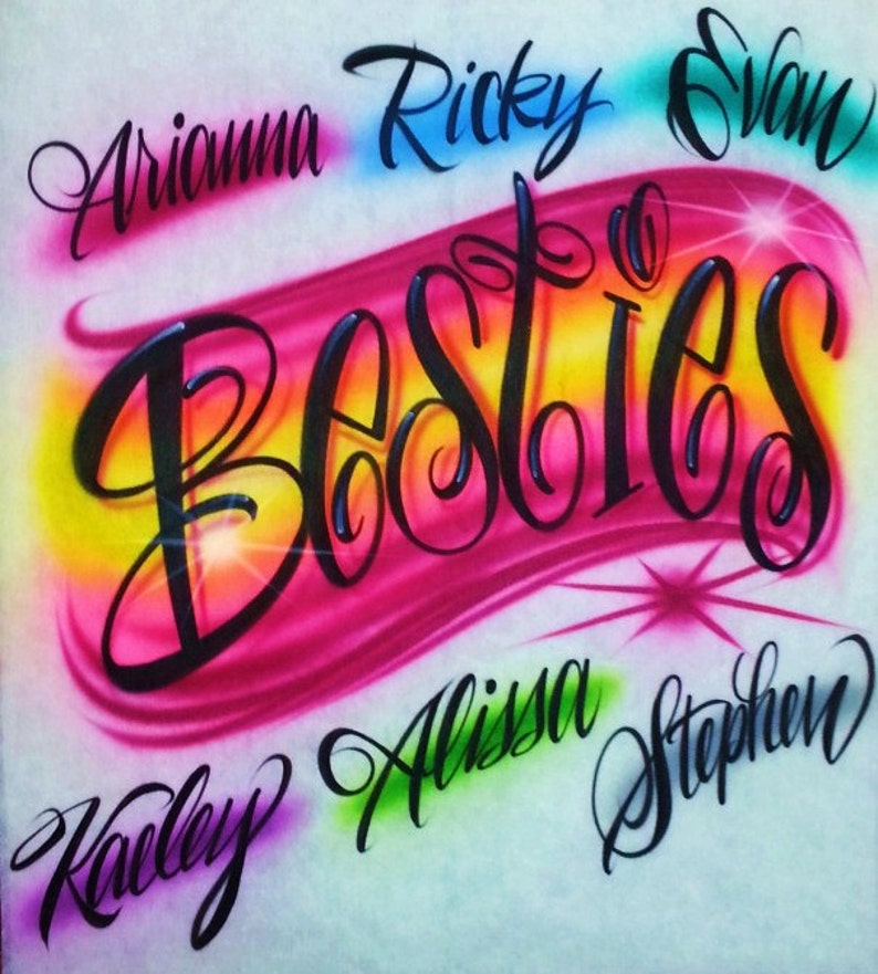 4100259ca Airbrush T Shirt Besties Best Friend Shirts | Etsy