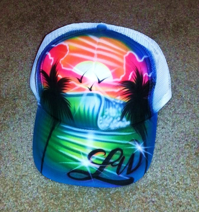 9ddf5ecf054 Airbrush Trucker Hat With Beach Scene Airbrush Beach Hat