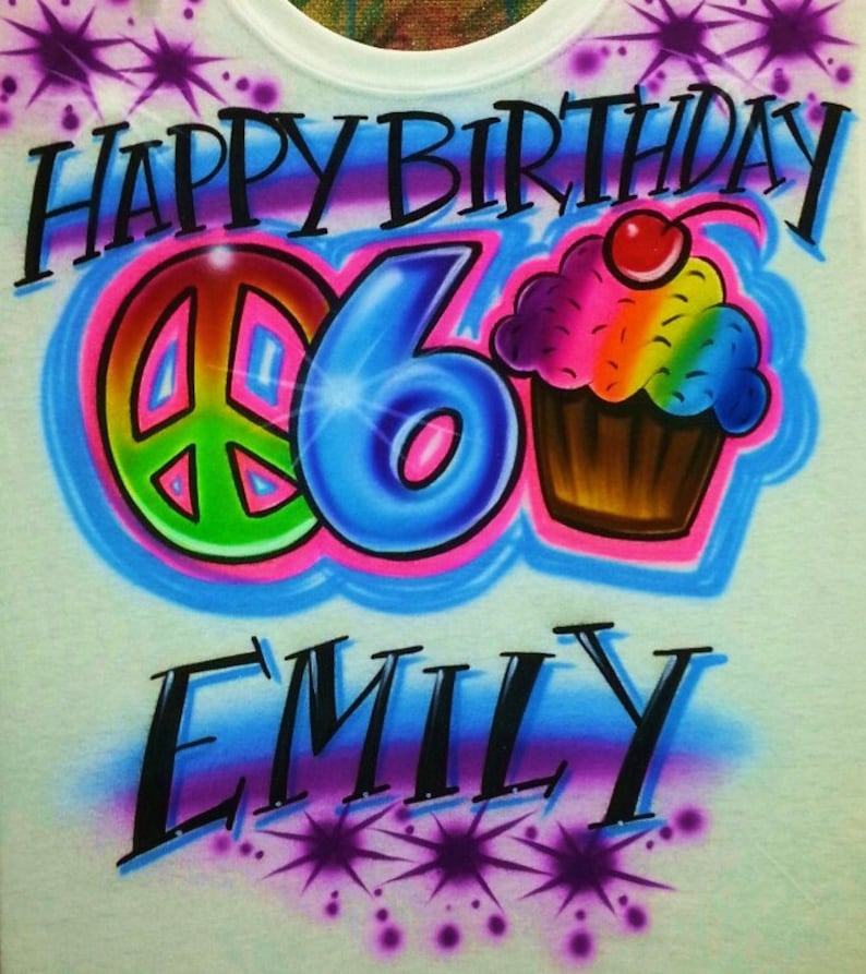 Airbrush T Shirt Happy Birthday With Cupcake