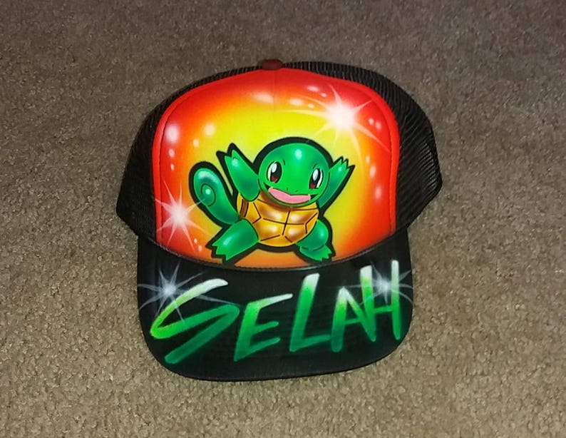 c00c366b3b7ca Airbrush Trucker Hat With Squirtle Pokemon Squirtle Squirtle