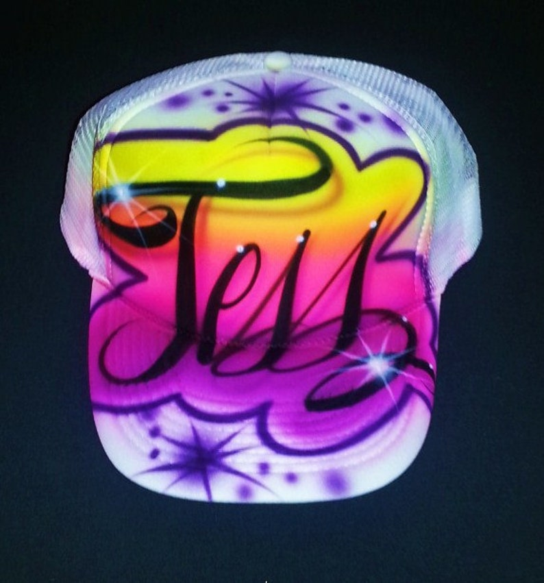 8fa52cec852bc Airbrush Trucker Hat With Name And Favorite Colors Airbrush