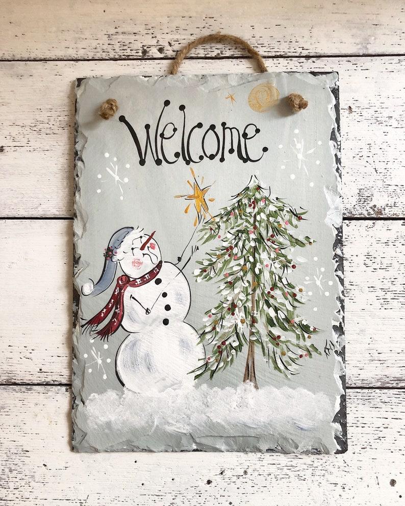 Hand Painted Slate Painted Slate Sign Painted Slate Christmas Slate Winter Slate Sign Birdhouse Slate  Front Door Slate,