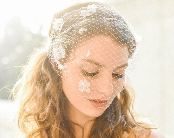 Bridal Birdcage Veil, Flower Veil, Floral Pearl Veil, Wedding Birdcage Veil, Ivory Veil, White Veil, Bandeau Veil, Wedding Veil, Style 306