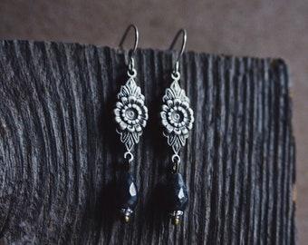 fleur. a pair of silver floral boho labradorite teardrop earrings