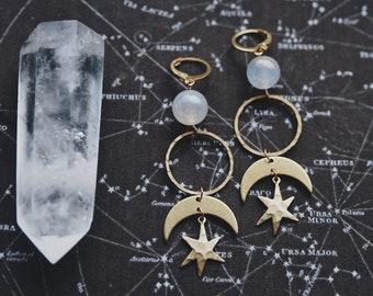 stargazing. a pair of boho celestial angel aura quartz, moon and star earrings