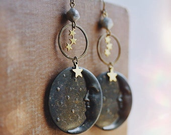 stardust. a pair of bohemian constellation and crescent moon face labradorite celestial earrings