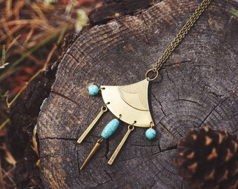 bohemian turquoise howlite chandelier necklace.
