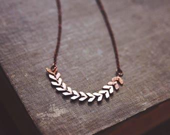 boho dainty chevron necklace in copper