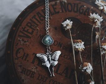 actius luna. a boho labradorite teardrop and sterling silver Luna moth necklace