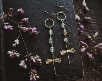 lagoon. a pair of earthy green fluorite and hammered brass dragonfly earrings