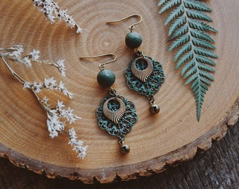 remi. a pair of bohemian jasper gypsy patina filigree bell earrings