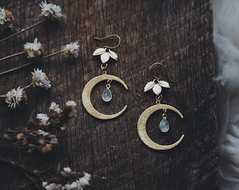 moon dew. a pair of bohemian gold leaf, moon, and rainbow moonstone teardrop botanical celestial earrings