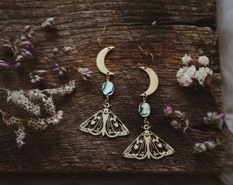 dusk. a pair of boho abalone, moon and moth nature inspired celestial earrings