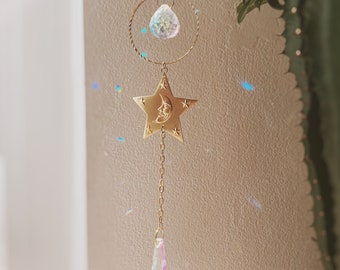 stellar rainbows. a bohemian celestial moon and star rainbow maker glass prism sun catcher suncatcher
