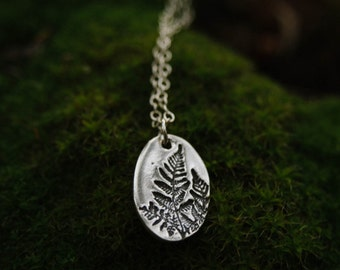 sterling silver pressed fern necklace.