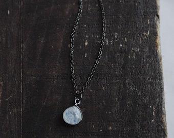 moondrop. a rainbow moonstone teardrop oxidized sterling silver and gunmetal minimalist bohemian necklace