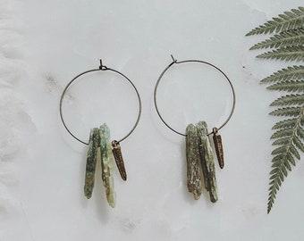 sage. a pair of boho earthy green kyanite and bronze spike hoop tribal earrings