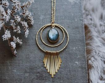 amphitrite. a boho labradorite and brass fringe hoop statement necklace