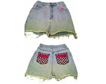 Cherry Denim Cut Off Shorts - Size 8