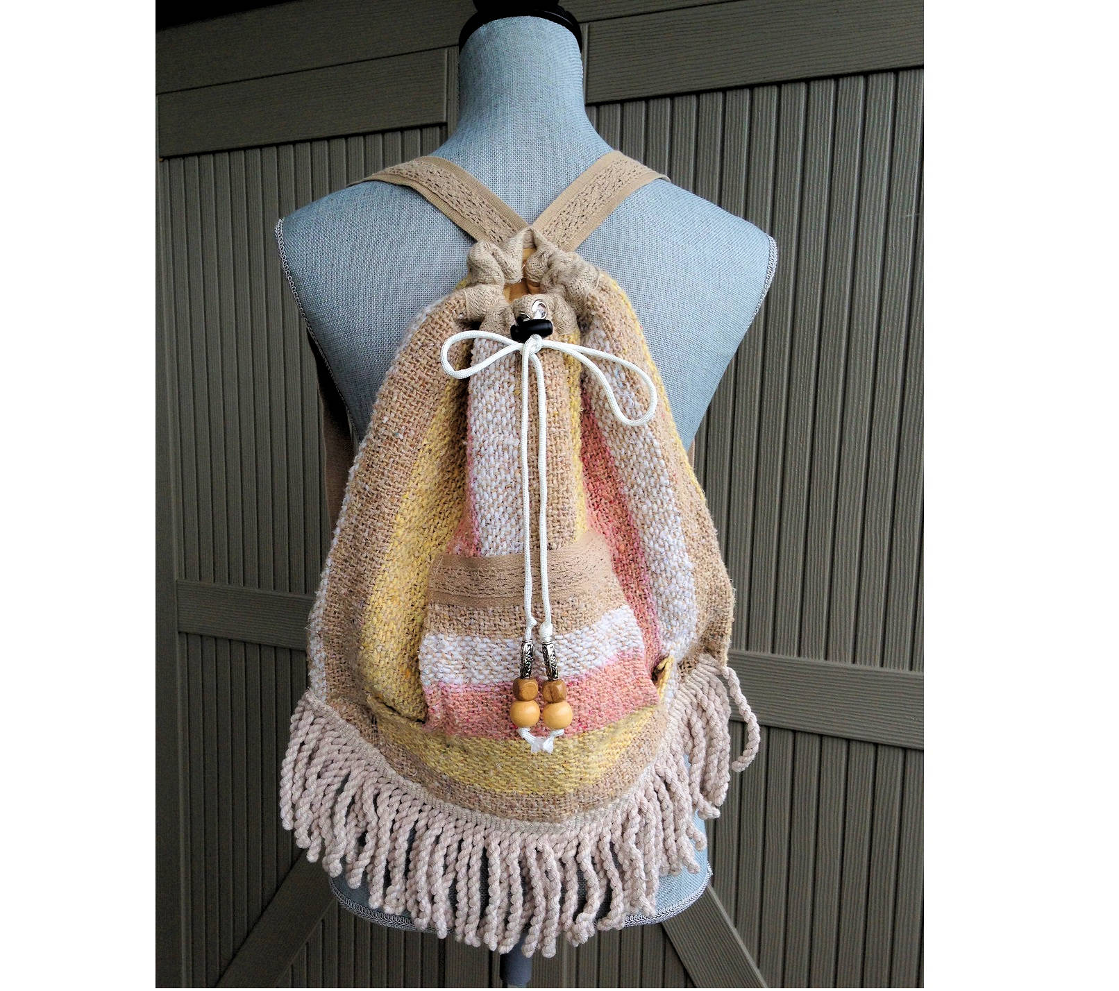 Drawstring Backpack Boho Style Upcycled Hippie Hobo Bag with  a2b8c5c631408