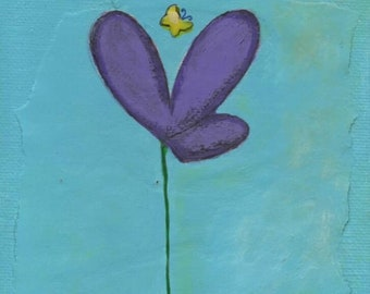 Purple Flower with Butterfly, Artist with Autism