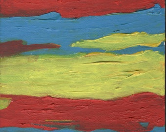 ABSTRACT ART PAINTING - Original Art Painting, Red Yellow Blue Art Gifts, Wall Art Decor, Canvas Painting, Wall Abstract Art 8 x 10 canvas