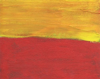 Abstract Art Painting, Red Yellow Blue, 7 x 5 Inches, Small Art, Gifts, Artist with Autism