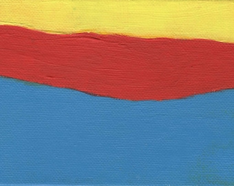 Abstract Art Painting, Artist with Autism, Red Yellow Blue, 6 x 4 Inches, Small Art, Gifts