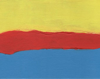 Artist with Autism, Abstract Art Painting, Red Yellow Blue, 7 x 5 Inches, Small Art, Gifts