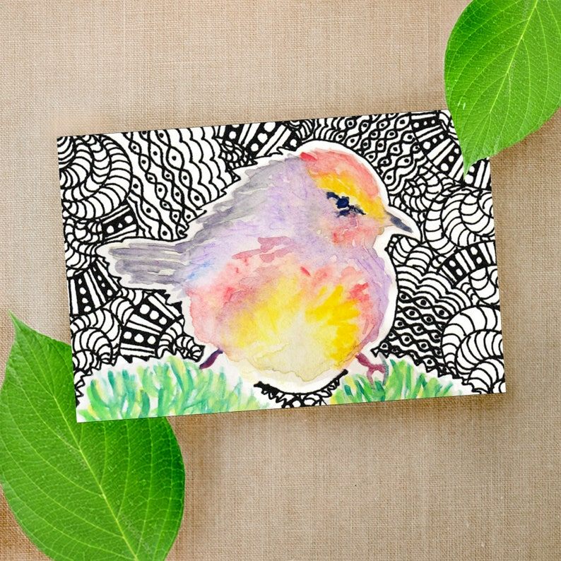 acrylic Robin pen Chicks Bluebird Illustrated Original Art Watercolor Owl Birds Collection Borderless Postcard Set of 4