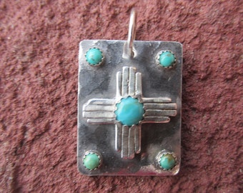 New Mexico Zia Sterling Silver American Turquoise Pendant Charm Cowgirl Necklace (Big version)