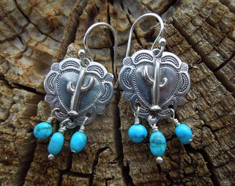 Stamped Santa Fe Southwestern Small Heart Saguaro Cactus Concho Turquoise Earrings - Kingman Arizona Turquoise and Sterling Silver