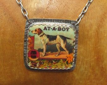 Atta Boy Dog Necklace Sterling Silver and Shrink Plastic Equestrian Beagle Hound Jewelry