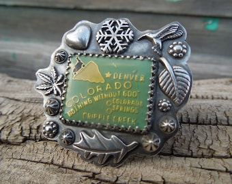 Colorado Ring - Vintage enamel set in Sterling Silver - Size 7.5 US 7 1/2