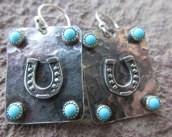 Horseshoe Turquoise Sterling Silver Earrings - Mexican Turquoise and Sterling Silver