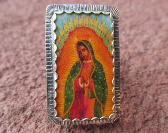 Our Lady of Guadalupe #3 Cocktail Ring Sterling Silver and Shrinky Dink Shrink Plastic Catholic Religious Kitsch Jewelry