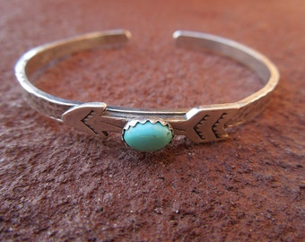 Sterling Silver Artisan Stamped Arrow and Turquoise Cowgirl Cuff Bracelet - Hammered Sterling