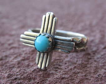 New Mexico Zia Four Directions Sterling Silver Turquoise Ring