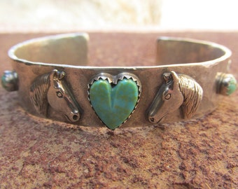 Sterling Silver Artisan Horse Cowgirl Heart Cuff Bracelet with Natural American Turquoise and Sterling Horses and Lucky Horse Shoes