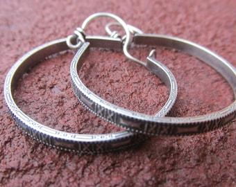 Sterling Silver Organic Hoops Handmade X Pattern Hoop Earrings