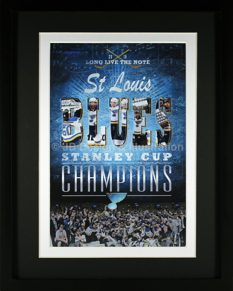 St Louis Blues Stanley Cup Champions 11 x 14 Framed Design