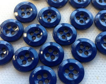 25 NEW 3//4 INCH 2 HOLE WIDE RIM BLUE BUTTOS