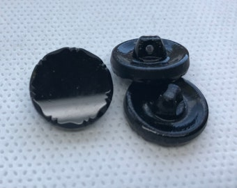 """Black Glass Shank buttons - Vintage - new never used  11/16"""" (18mm) diameter, European manufactured around the 60's"""