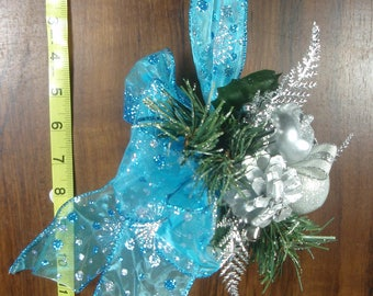 Aqua & Silver Jingle Bell Door Hanger, FREE SHIPPING, Floral Christmas Door Decoration with Gift Box