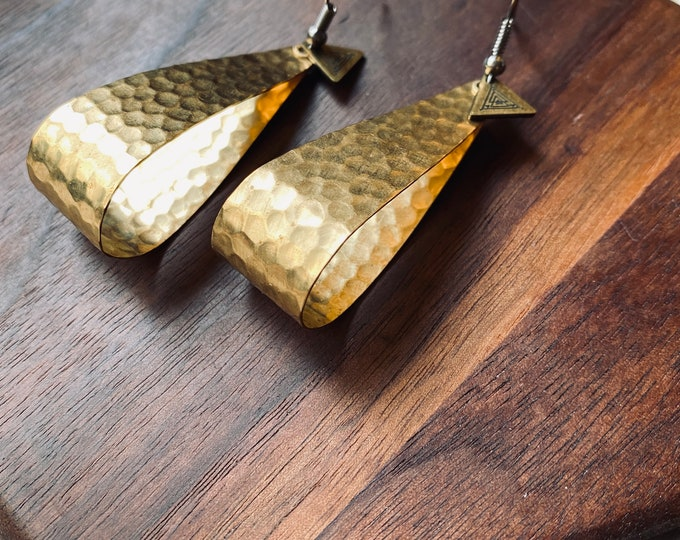 Eva Earrings - hammered - teardrop - nomad west - dangle - celestial - bohemian - brass gold - designer - geometric - handmade - jewelry