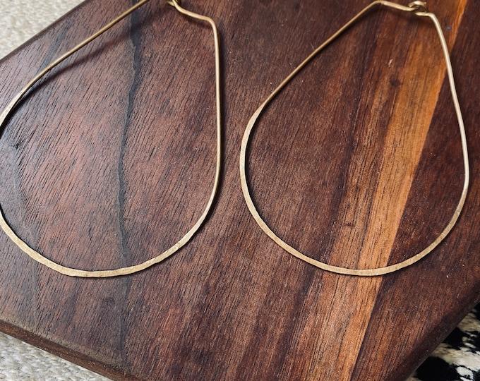 Juniper Hoop -  teardrop -  earrings - handmade - geometric - brass - nugold - hammered - lightweight - woman owned - celestial - galactic