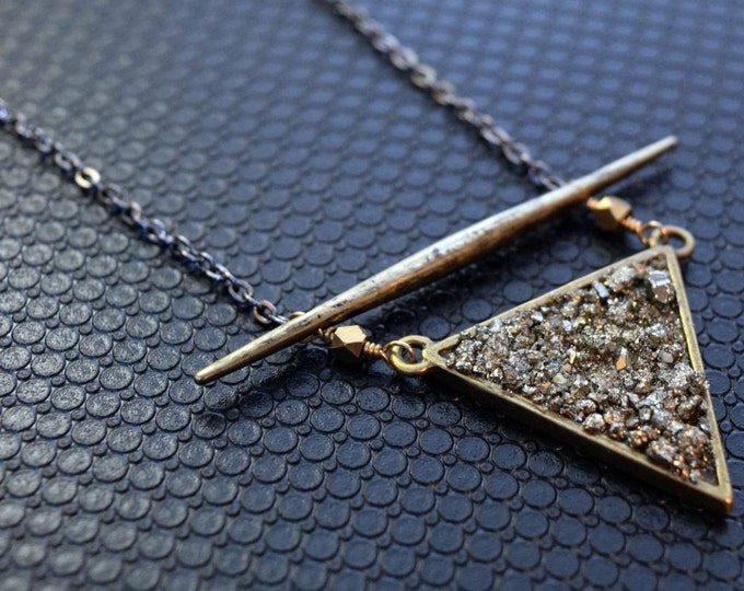 Imogen Necklace - bohemian - fashion - handmade jewelry - gift - designer - pyrite - witch - crystal - triangle - coven - dagger - black