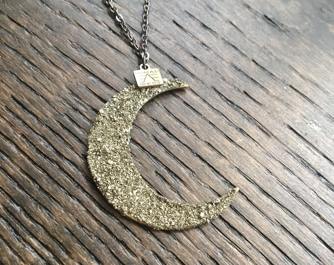 Sharamoon Necklace - boho - handmade jewelry - crystal - moon - pendant - pyrite - witch - reiki - crystal moon - necklace